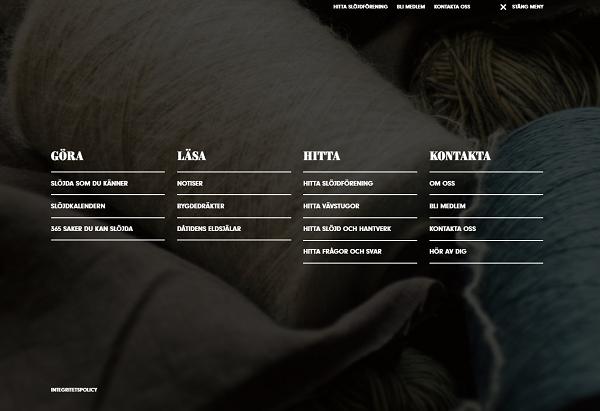 Skärmdump på menyn för www.slojdivastmanland.se